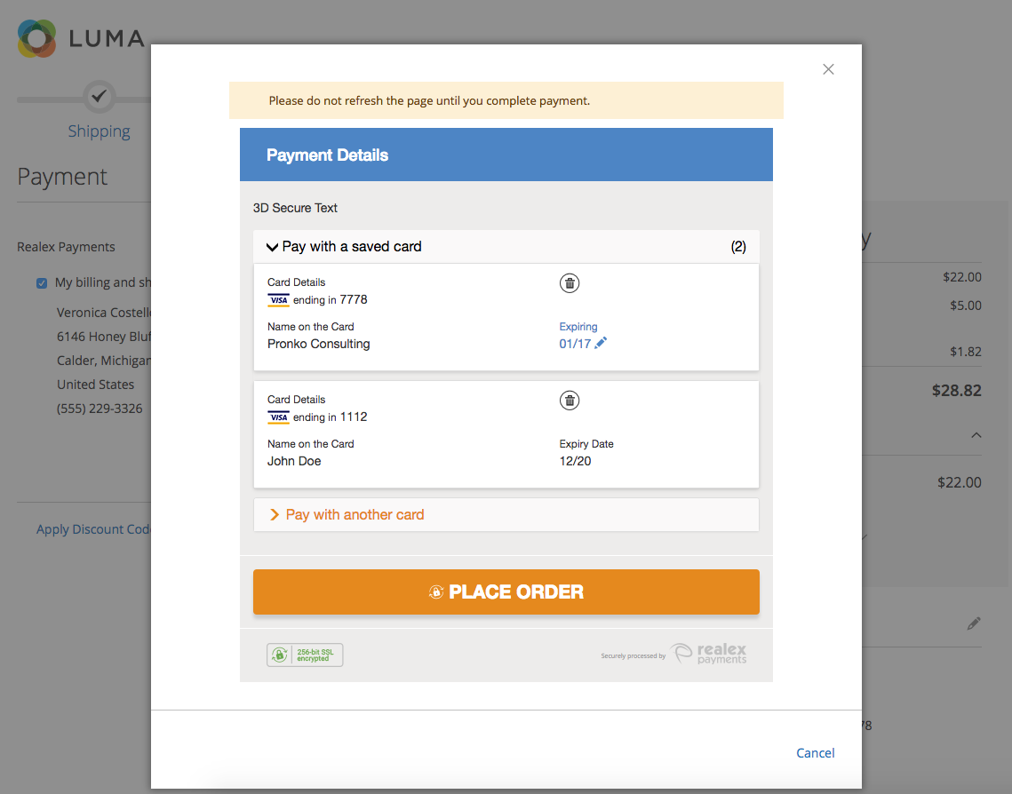 Magento 2 Realex Payments Updates, new Card Storage and