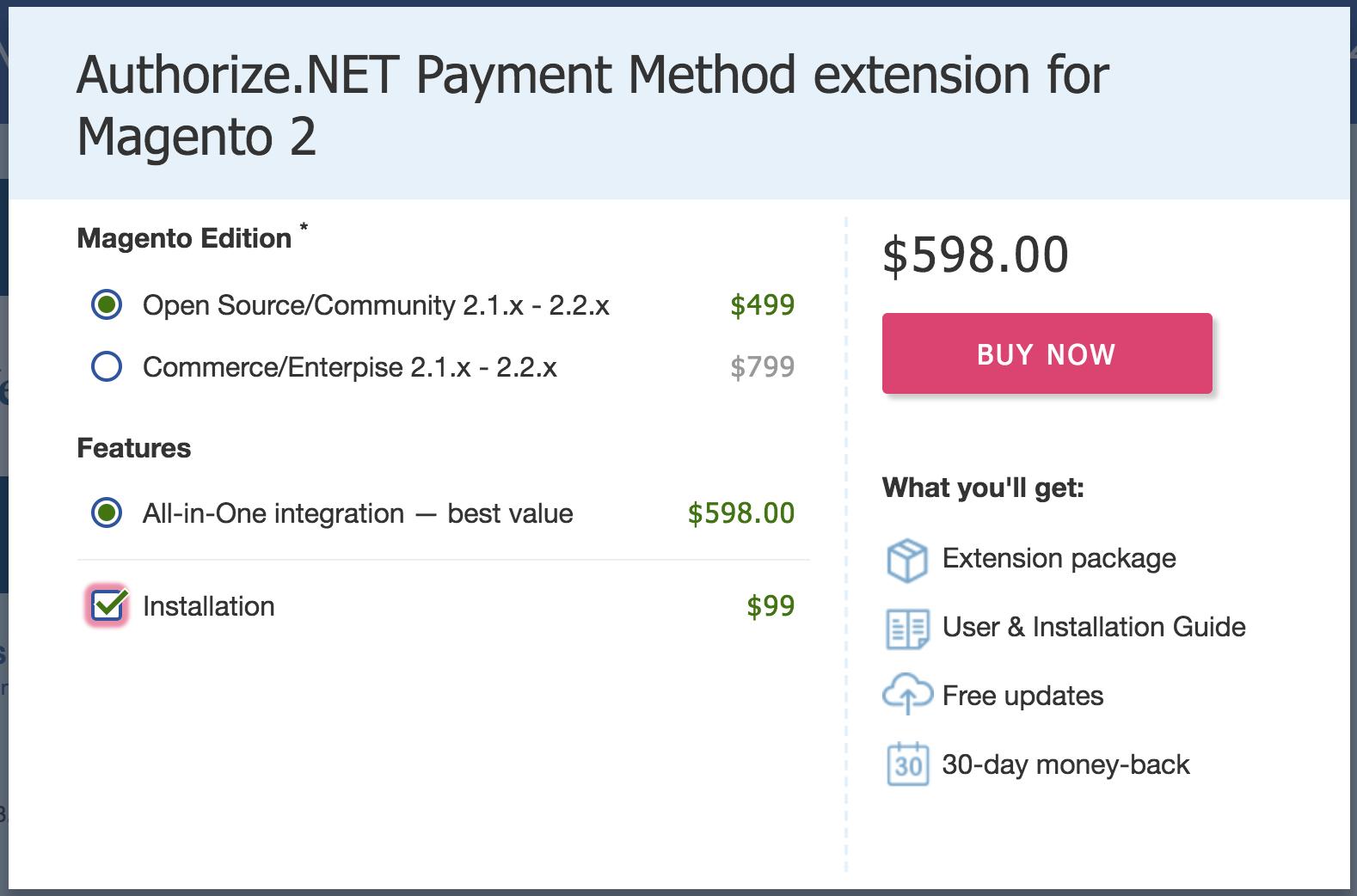 Authorize.net extension