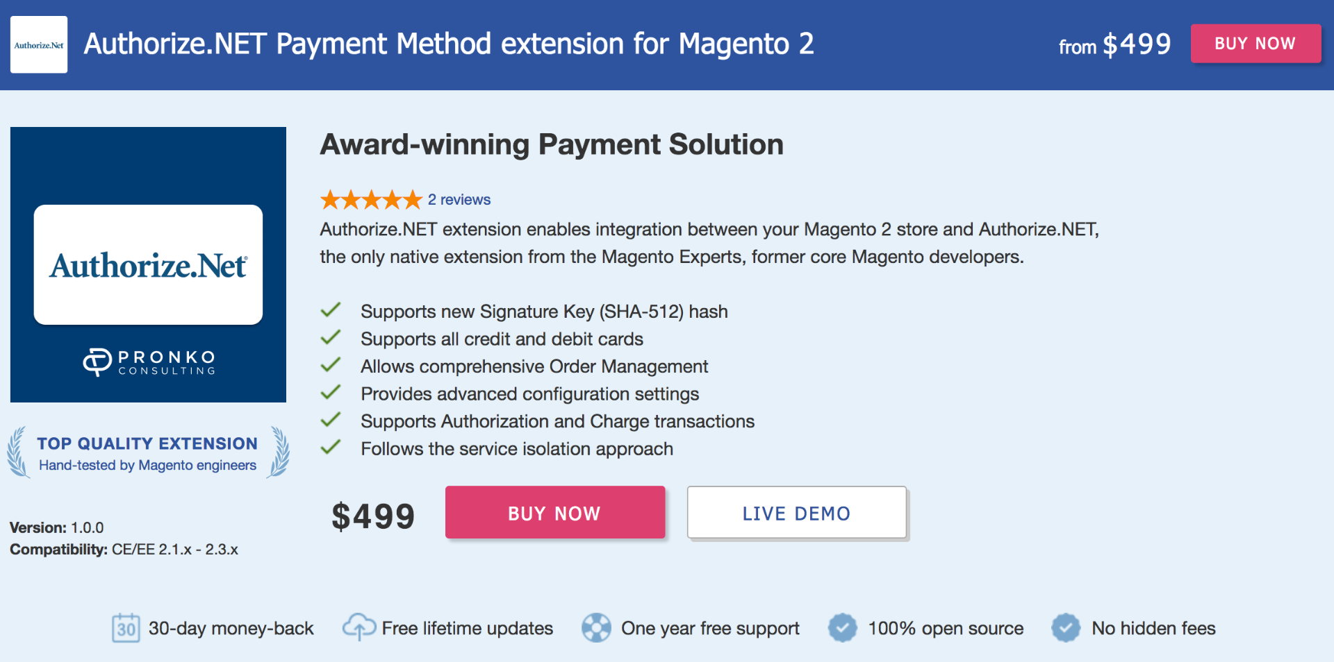 Authorize.net payment extension for Magento 2