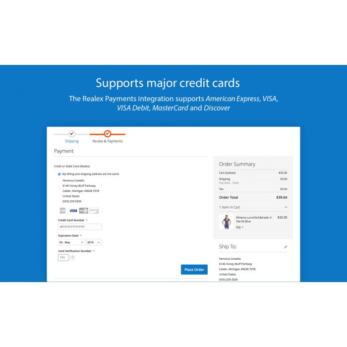 Realex Payments payment method for Magento 2